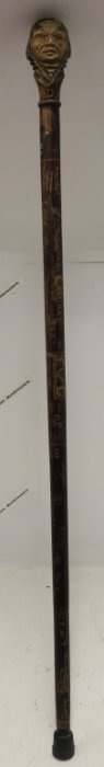 Carved Wooden Folk Art Cane From Dartmouth