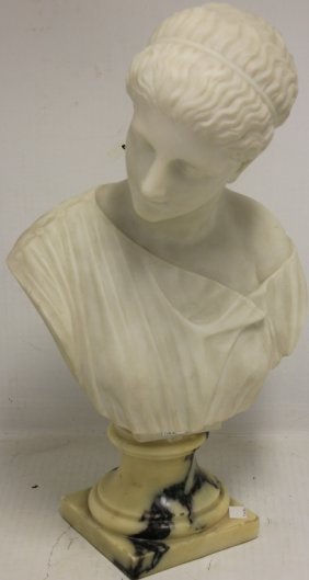 19th C Classical Marble Bust Of A Woman, Signed
