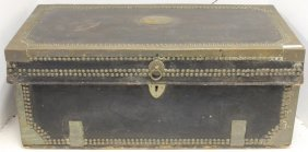 19th C Brass Bound Leather Covered Camphor Chest