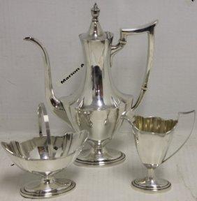 Sterling Silver Coffee Set, 3 Pcs By Gorham,