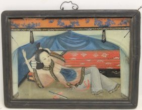 Early 19th Reverse Painting Of Asian Prostitute