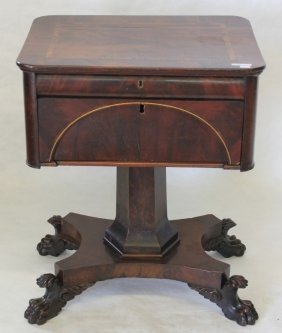 Early 19th C Federal Work Table With Inlaid Top