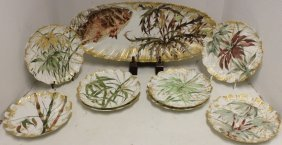 9 Pc 19th C Limoges Fish Set, Anglo Japanese