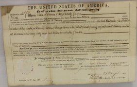 Land Grant Signed By President James Buchanan,