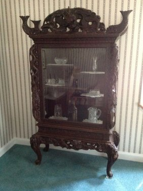 Ornate dragon carved japanese china cabinet lot 151 for M furniture gallery new orleans