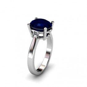 Sapphire 3.31 Ctw Diamond Ring 14kt White Gold
