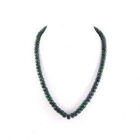395.5ctw Deep Green Emerald Beads Necklace