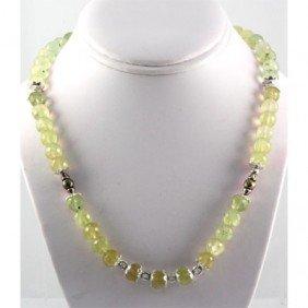 319ctw Lemon Topaz Beaded Silver Necklace