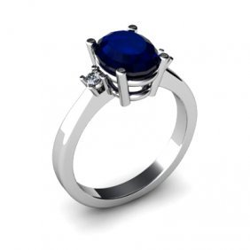 Sapphire 2.30 Ctw Diamond Ring 14kt White Gold