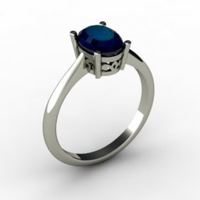Sapphire 1.55 Ctw Ring 14kt White Gold