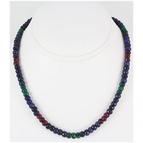 189.90ctw Natural Multi-Color Rondelles Necklace
