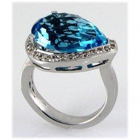 Genuine 13.04ctw Blue Topaz Diamond Ring 14kt W/G 6.71g