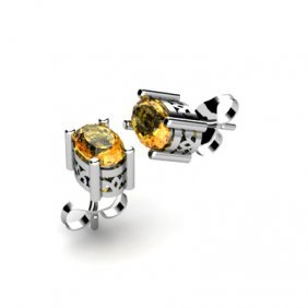 Citrine 0.90ctw Earring 14kt White Gold