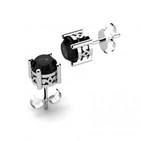 Black Diamond 1.70ctw Earring 14kt White Gold