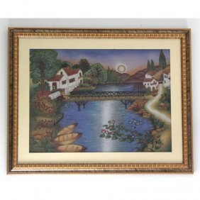 "30 1/2"" X 24 1/2"" Crushed Gemstone Painting Of Lake Hou"
