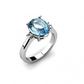 Aqua Marine 2.25ctw Diamond Ring 14kt White Gold