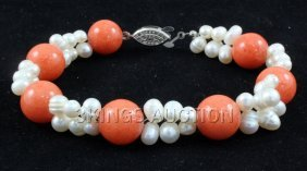 """134.7CTW 8"""" SUNSET ORANGE FRESHWATER PEARL WITH CORAL B"""