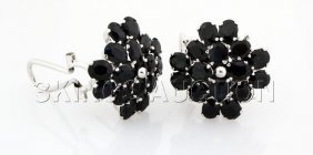 Cluster Sapphire 46.92CTW Sterling Silver Earring