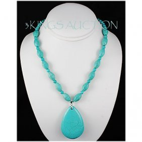 Natural 338.36ctw Turquoise Sterling Silver Necklace
