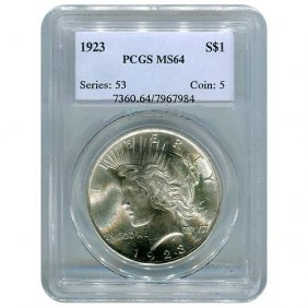 Certified Peace Silver Dollar 1923 MS64 PCGS