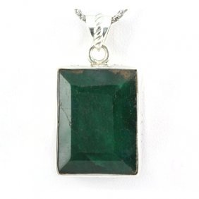 81.5ctw Beautiful Silver Emerald Pendant (19x25mm)