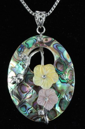 13.48GRAMS MOTHER OF PEARL RAINBOW OVAL PENDANT