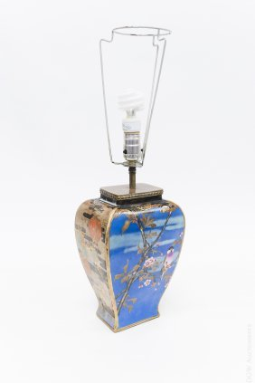 Japanese Cloisonne Vase Turned Lamp.