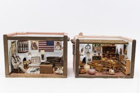 (2) Native American Doll House Dioramas.