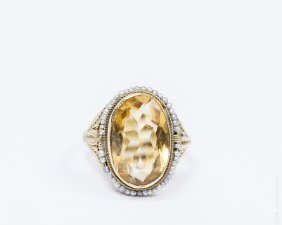 14k Yellow Gold, Citrine And Seed Pearl Ring.