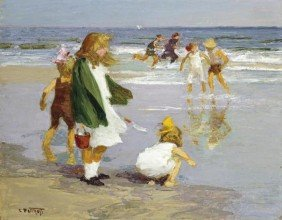 """EDWARD HENRY POTTHAST """"PLAY IN THE SURF"""""""