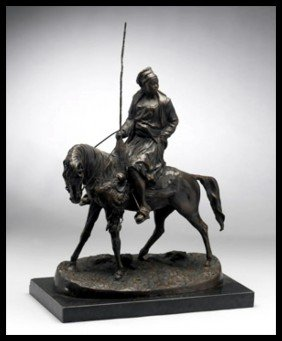 LADY ON HORSE - BRONZE SCULPTURE