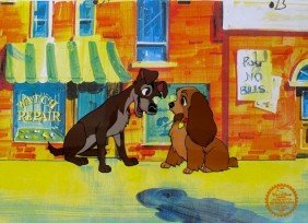 Disney LADY & THE TRAMP 1955 Original Serigraph Ce