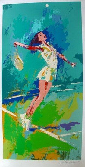 LEROY NEIMAN SWEET SERVE TENNIS HAND SIGNED LIMITE