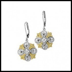 NATURAL YELLOW & WHITE DIAMONDS LEVER BACK EARRIN