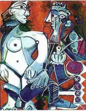 #104 MAN WITH NUDE WOMAN PICASSO ESTATE SIGNED GI