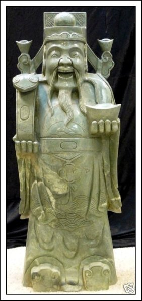 LARGE JADE STANDING FORTUNE GOD