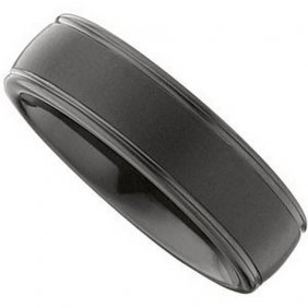BLACK  TUNGSTEN  RIDGED  DOMED  BAND