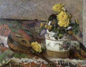 "PAUL GAUGUIN  ""MANDOLIN AND VASE OF FLOWERS"""