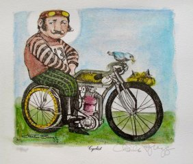 CHARLES BRAGG CYCLIST HAND SIGNED COLOR LITHOGRAPH