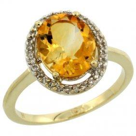 10K GOLD  HALO ENGAGEMENT CITRINE RING