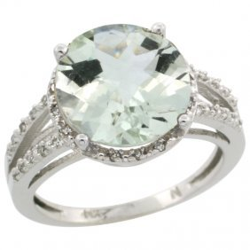 14K WHITE GOLD  HALO ENGAGEMENT GREEN AMETHYST RIN