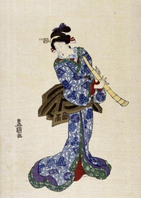"UTAGAWA TOYOKUNI  ""SHAKUHACHI"""