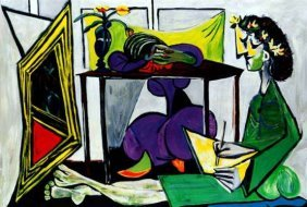 #33 INTERIOR WITH GIRL DRAWING PICASSO ESTATE SIGN