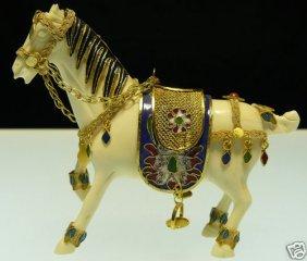 SOLID BONE & CLOISONNE HORSE