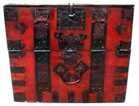 Antique Korean Dowry Chest On Stand