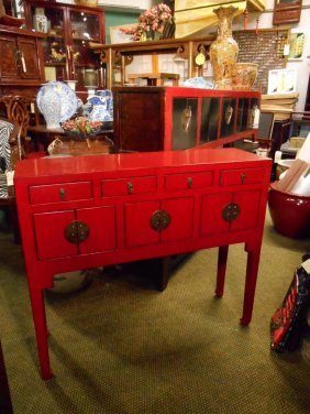 Red Lacquer Chinese Antique Table