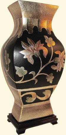 Rectangular Chinese Porcelain Vase With Art Deco Floral