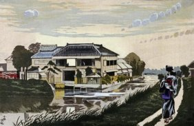 Kobayashi Kiyochika - The Sunset At Yanagishima