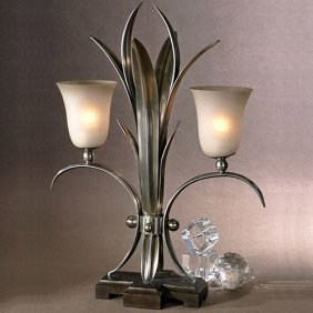 Aluminum Frond Table Lamp