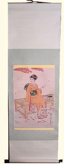Asain Silk Scroll: Geisha Sitting On Pad
